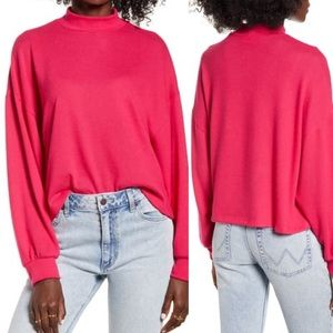 All in favor Bright rose mock neck pullover top
